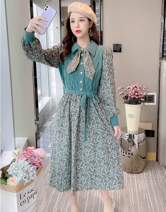 DL207 : Đầm nhung hoa liền thân áo len cài nút thắt nơ cổ