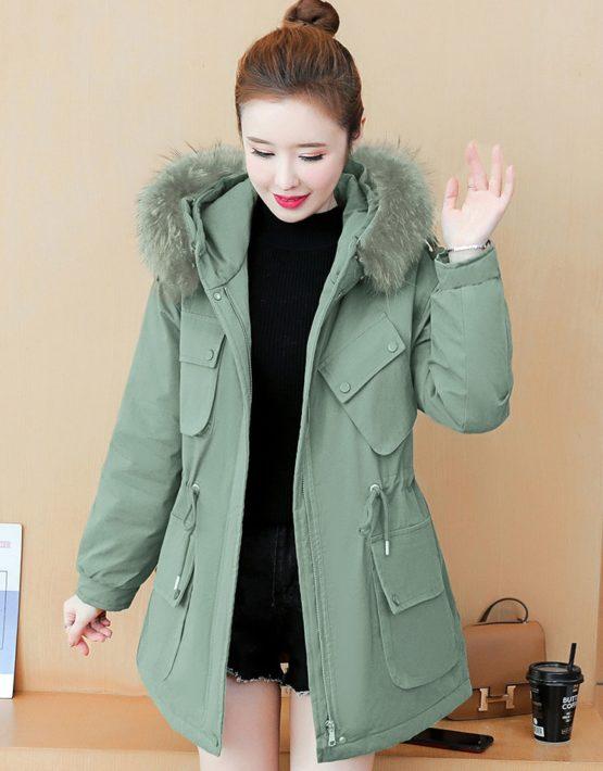 K236 : Áo khoác phao Parker lót lông thỏ ấm áp rút dây eo