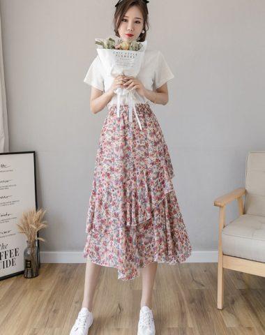 CV211 : Chân váy voan hoa bèo tầng xòe
