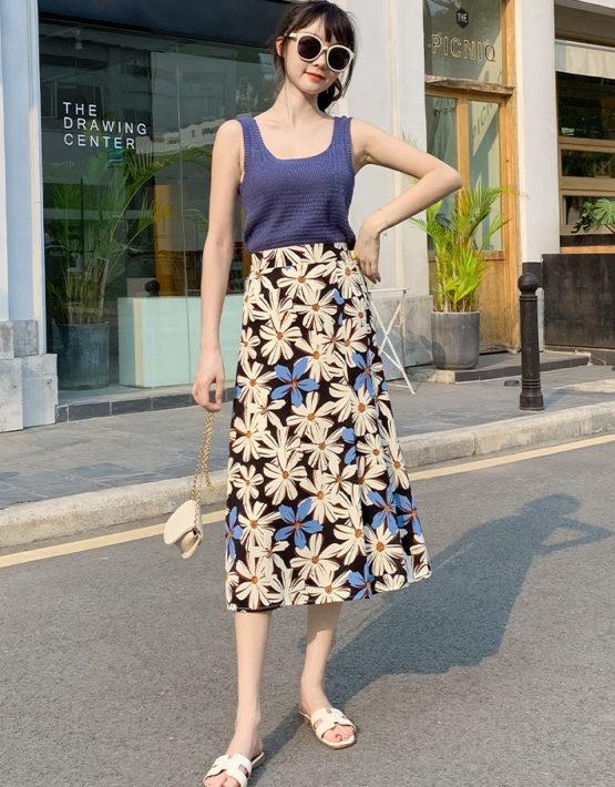 CV216 : Váy voan hoa lớn lưng cao mẫu mới siêu HOT