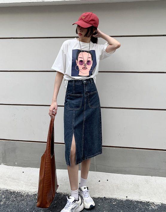 CV217 : Chân váy Jean chữ A xẻ đùi eo cao mẫu mới HOT