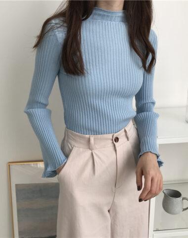 AL215 : Áo len dệt kim cổ 3 phân tay loe đơn giản