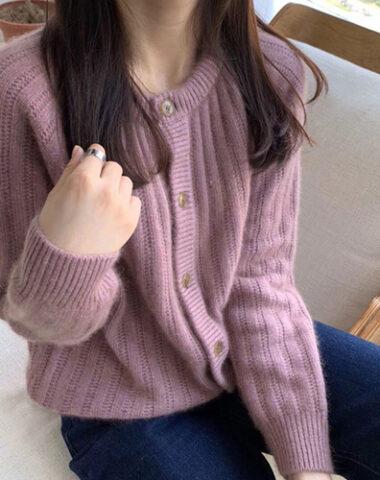 K240 : Áo khoác len dệt kim cổ tròn cài nút đơn giản