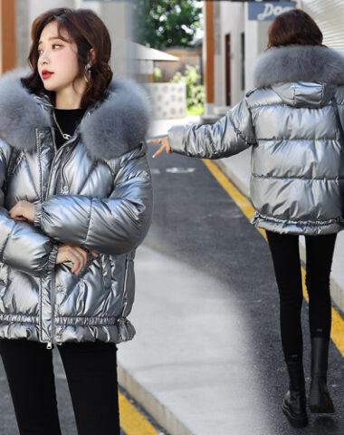K245 : Áo khoác phao bóng lông vũ mũ lông thỏ ấm áp dễ thương