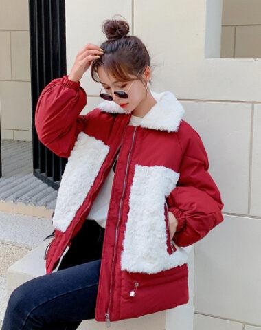 K244 : Áo khoác phao phối túi và cổ bẻ lông cừu