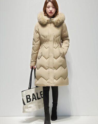 K246 : Áo khoác phao thân dài sọc trám mũ lông thú ấm áp