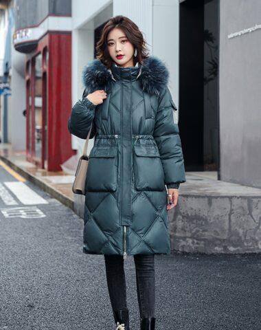 K247 : Áo khoác phao thân dài 2 túi hộp mũ lông thú ấm áp