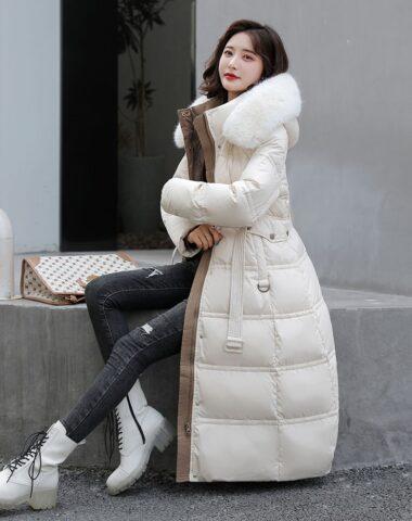 K248 : Áo khoác phao thân dài mũ lông thú thắt đai eo