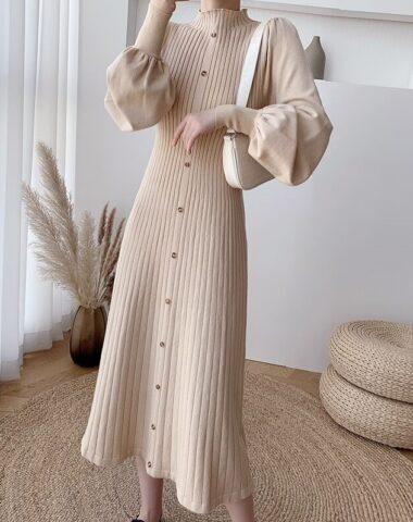 DL217 : Đầm len dệt kim dài xòe cổ 3 phân tay phồng duyên dáng