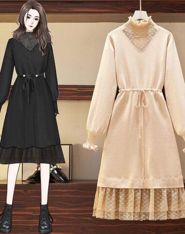 DL213 : Đầm len dệt kim xòe phối ren tim cổ công chúa và chân váy